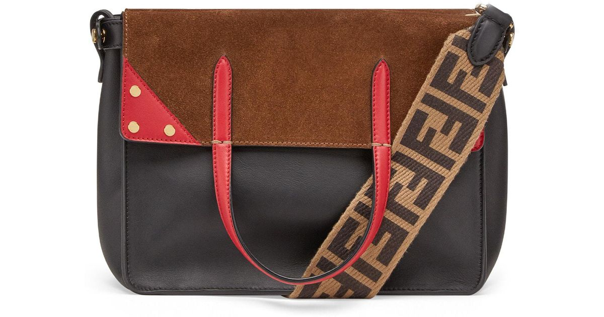 12adecf8134c Lyst - Fendi Flip Leather   Suede Tote - in Red