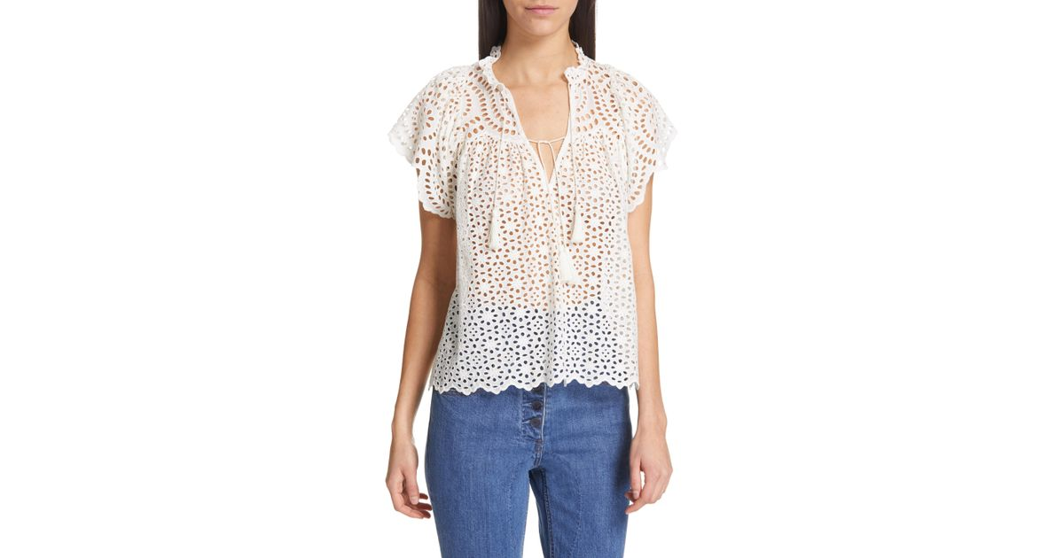 0434a689733777 Lyst - Ulla Johnson Dolly Eyelet Top in White