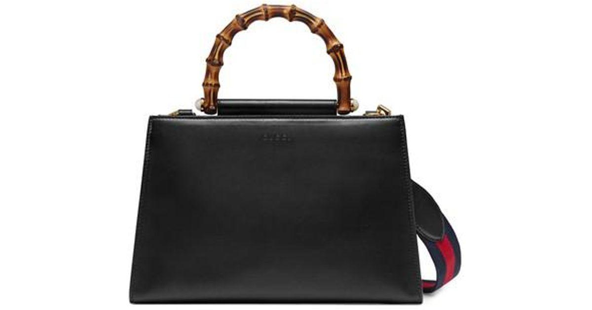 539c30b68b0 Lyst - Gucci Medium Nymphea Bicolor Leather Top Handle Satchel in Black
