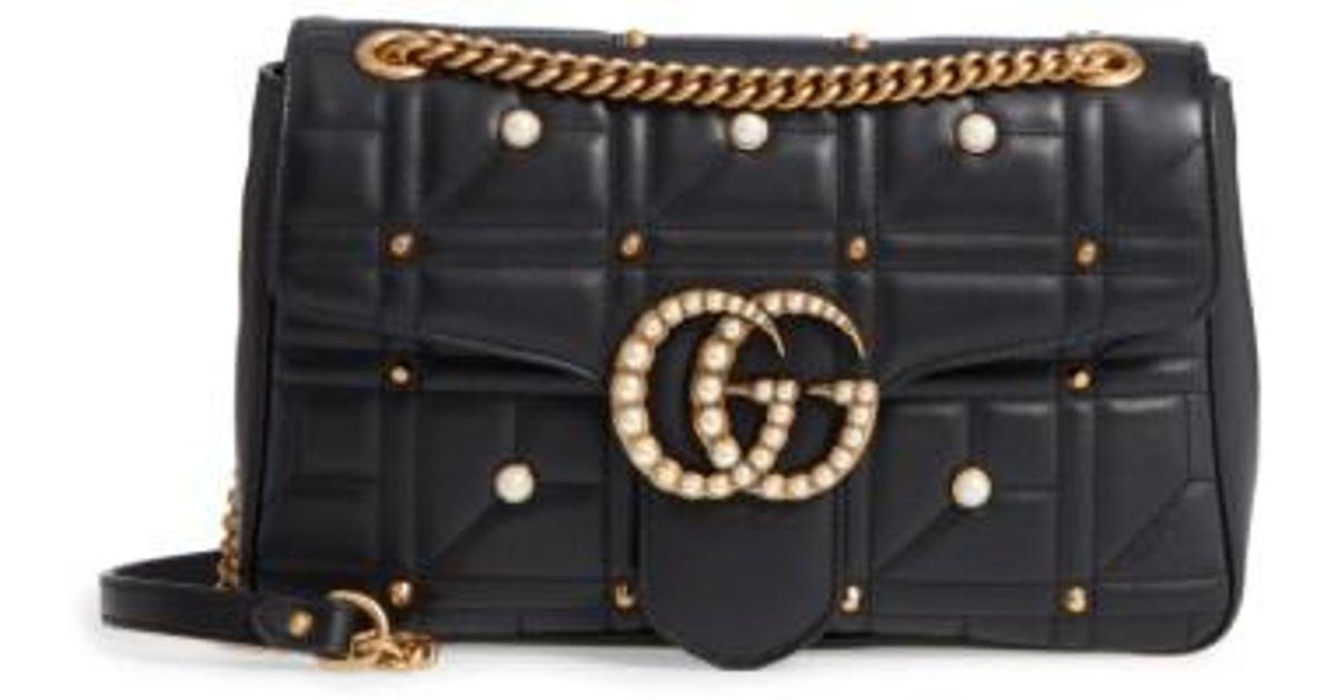9753f92971d3 Lyst - Gucci Gg Marmont 2.0 Imitation Pearl Logo Matelasse Leather Shoulder  Bag - None in Black