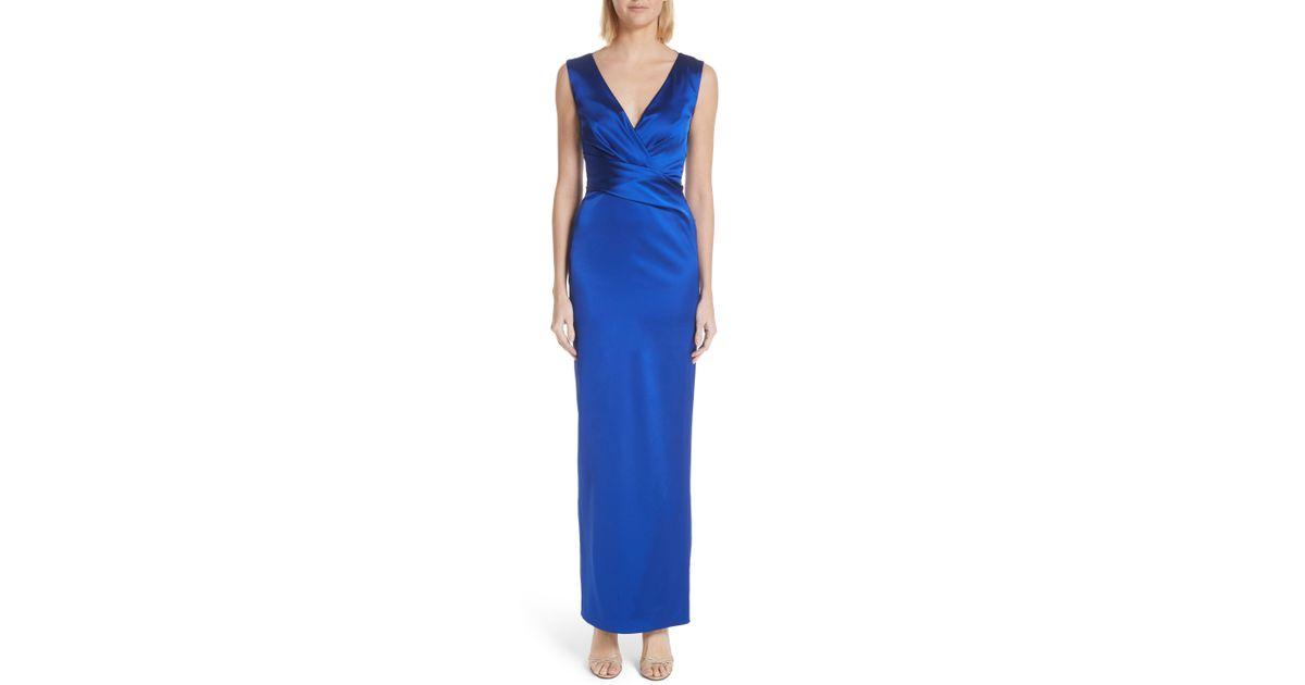 9ee43686a2113 Lyst - Talbot Runhof Stretch Duchess Satin Gown in Blue