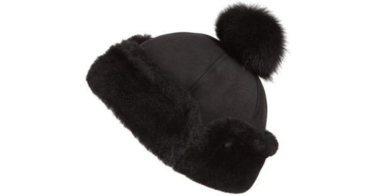 Lyst - Ugg Ugg Genuine Shearling Pom Hat in Black 3d355ee4036