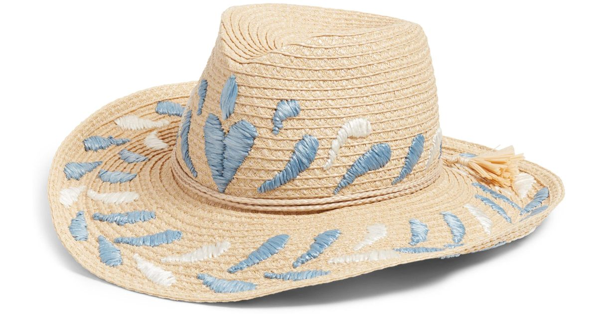 064a0d92b9983 Lyst - Eric Javits Corsica Patterned Cowboy Hat in Natural - Save 71%