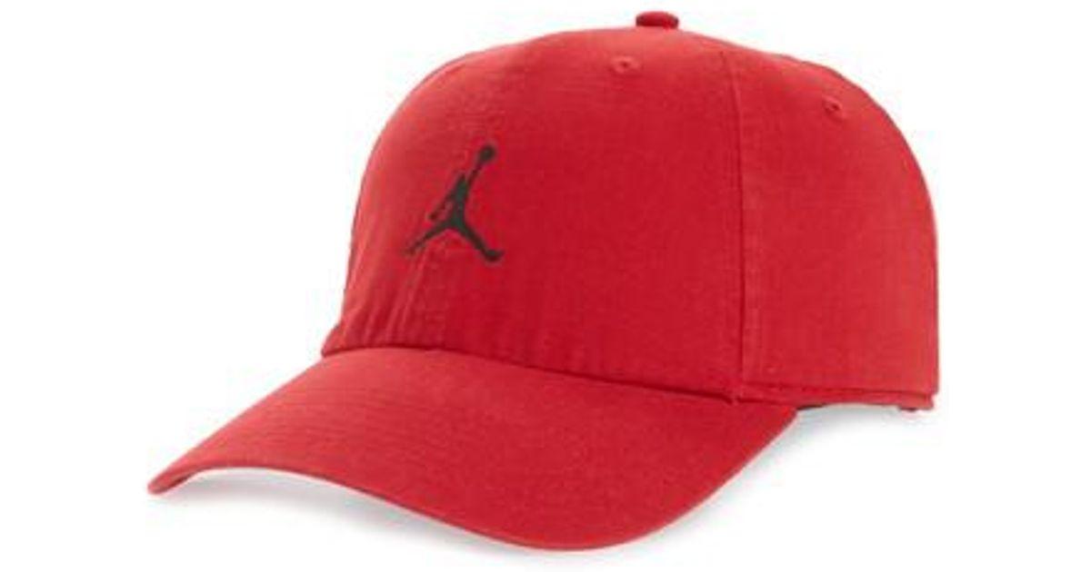 d618ed096effca ... switzerland lyst nike jordan h86 jumpman washed baseball cap in red for  men cf2ae 4b5e9
