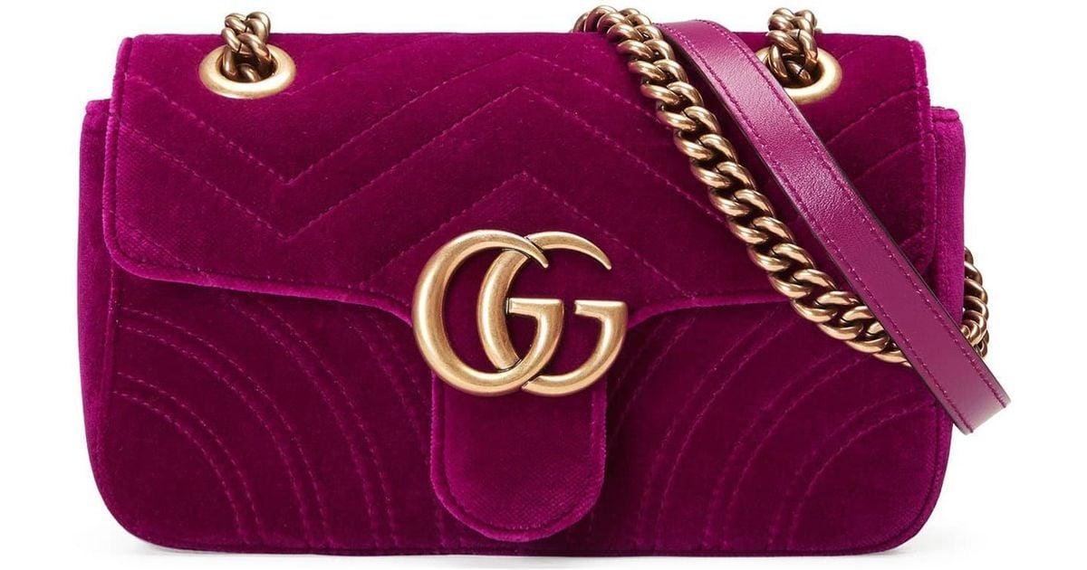 d54a8e6906780f Gucci Small Gg Marmont 2.0 Matelassé Velvet Shoulder Bag - in Purple - Lyst