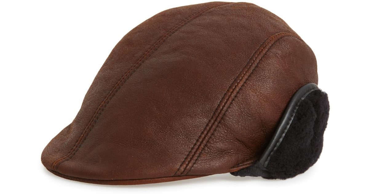 7acdc7405d3 Lyst - Crown Cap Genuine Shearling Leather Driving Cap - in Black for Men