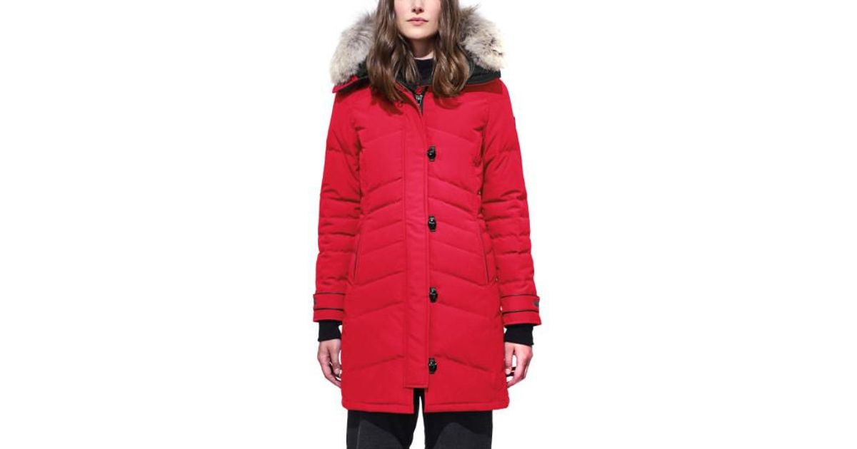 Lyst - Canada Goose 'lorette' Hooded Down Parka With Genuine Coyote Fur Trim in Red