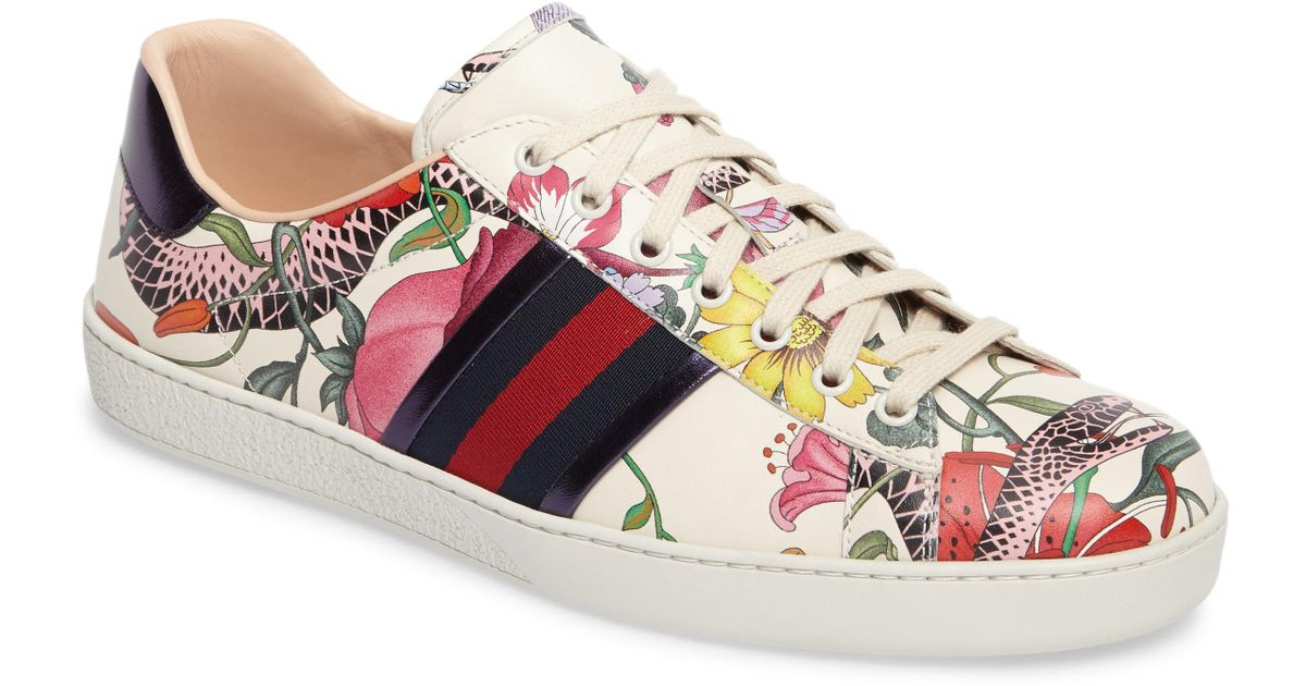 a5bb7279aca Lyst - Gucci New Ace Flora Snake Sneaker for Men