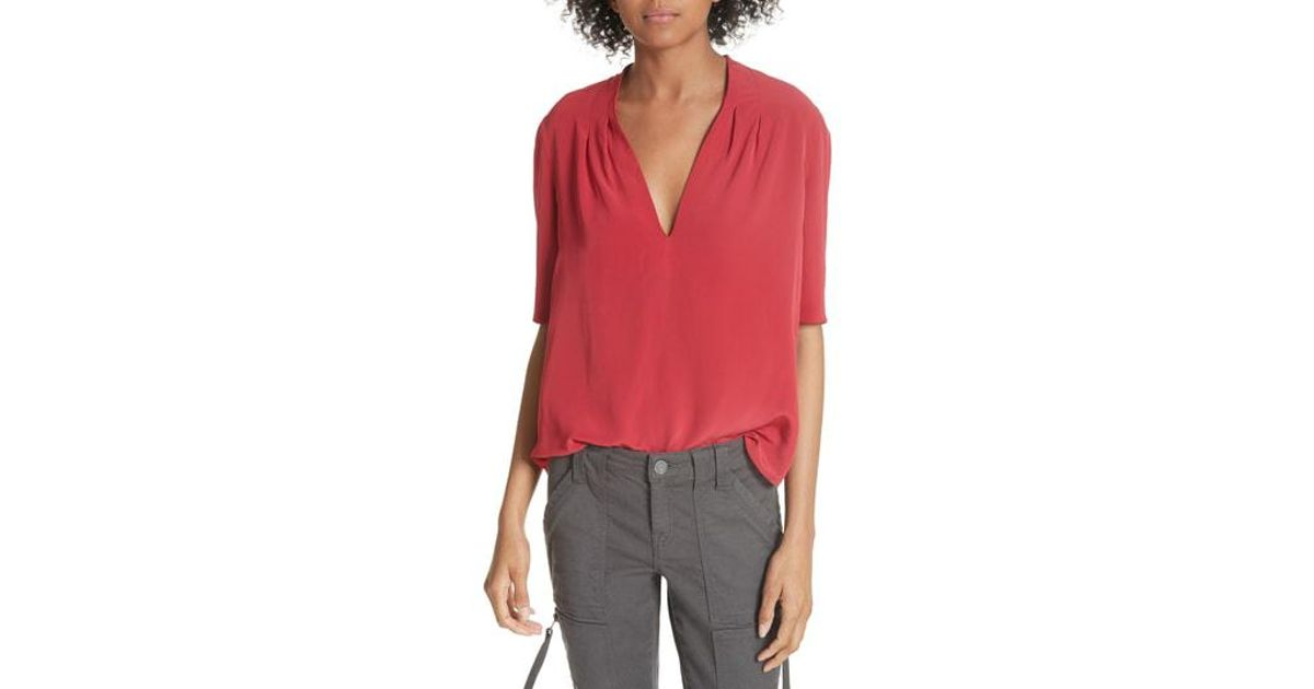 109e74b1be869 Lyst - Joie Ance Pleated Back Short Sleeve Blouse in Red