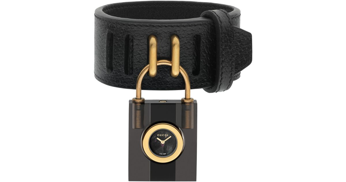 bb812a93542 Lyst - Gucci Twirl Small Leather Strap Padlock Watch in Black - Save 16%
