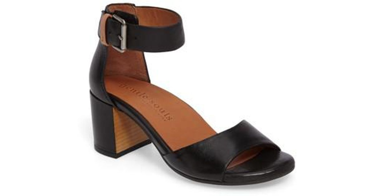 4b5b3f9d9d60 Lyst - Gentle Souls Christa Block Heel Sandal in Black