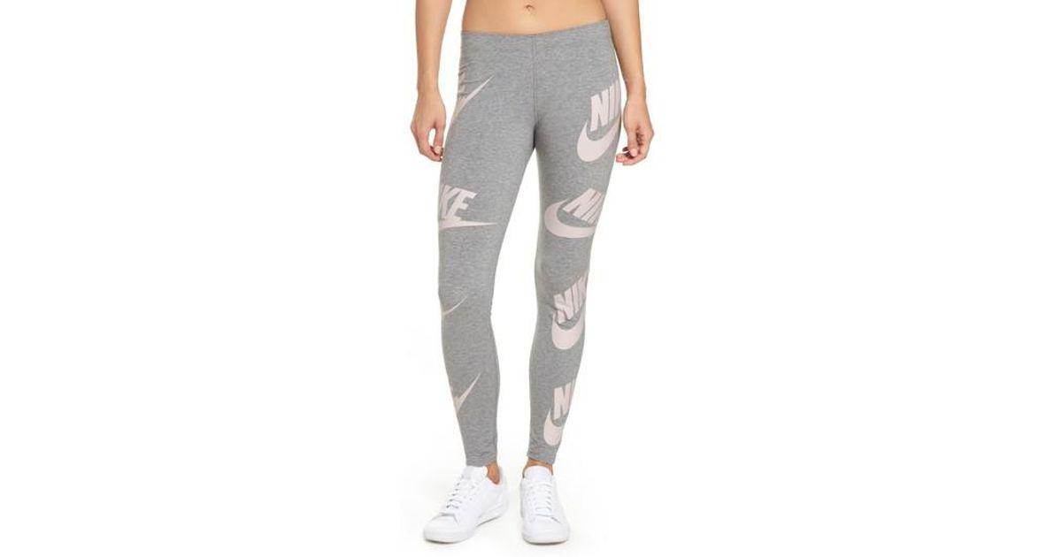 Lyst - Nike Sportswear Graphic Leggings in Gray 670385aa8