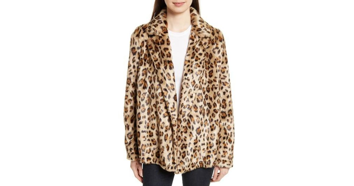 c51bb405a23d Theory Clairene Leopard Print Faux Fur Coat in Brown - Lyst