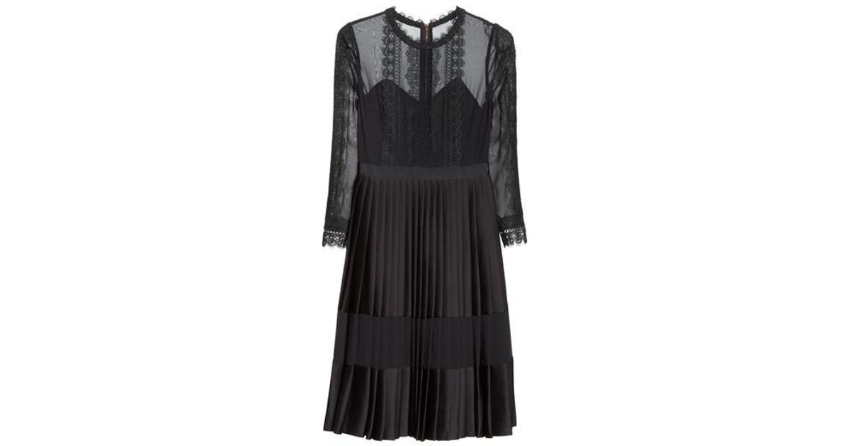 36d48b58c36 Ted Baker Lace Trim Pleated Midi Dress in Black - Lyst