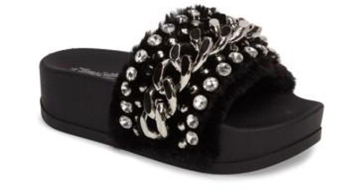 5892fdb14271 Lyst - Jeffrey Campbell Edie Faux Fur Slide Sandal in Black