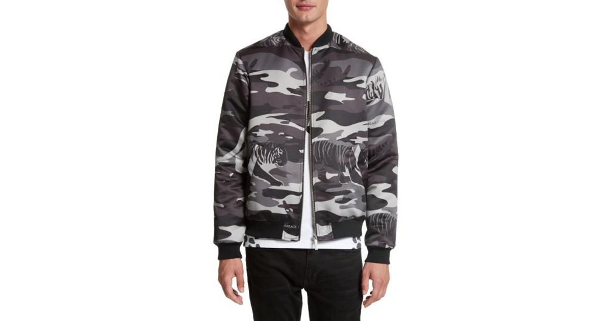 1dc4059960432 Versace Jeans Camo Tiger Bomber Jacket in Gray for Men - Lyst