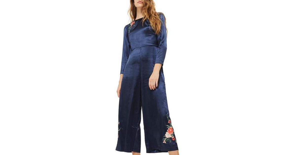 737561692d3f Lyst - TOPSHOP Floral Embroidered Jumpsuit in Blue