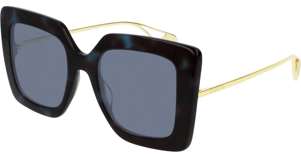 21aa58f76 Lyst - Gucci 51mm Square Sunglasses - Shiny Blue Dk Hav/ Blue Sld in Blue