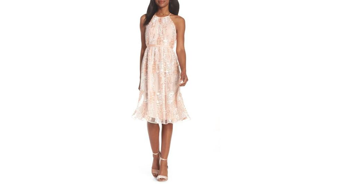 Lyst Maggy London Trailing Daisy Lace Midi Dress In Pink