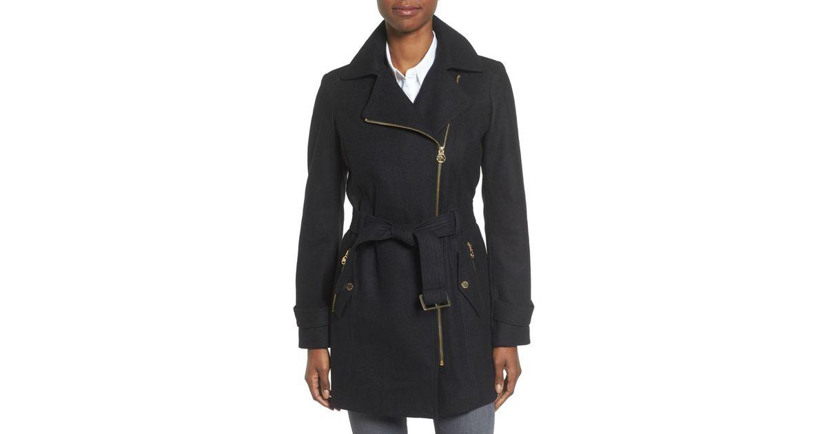new items big selection of 2019 2019 original MICHAEL Michael Kors Black Asymmetrical Belted Wool Blend Coat