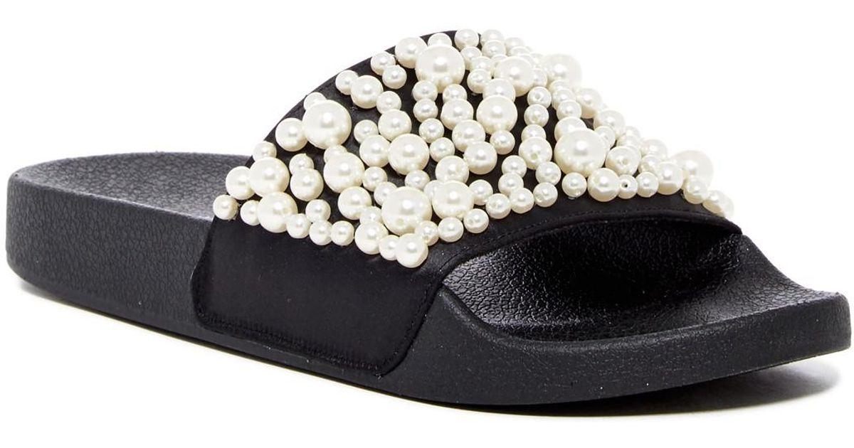 40a5ea21cfc Lyst - Steve Madden Chant Imitation Pearl Embellished Slide Sandal in Black