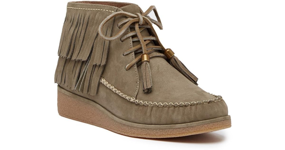 914524ab817 UGG Caleb Leather Wedge Bootie in Brown - Lyst