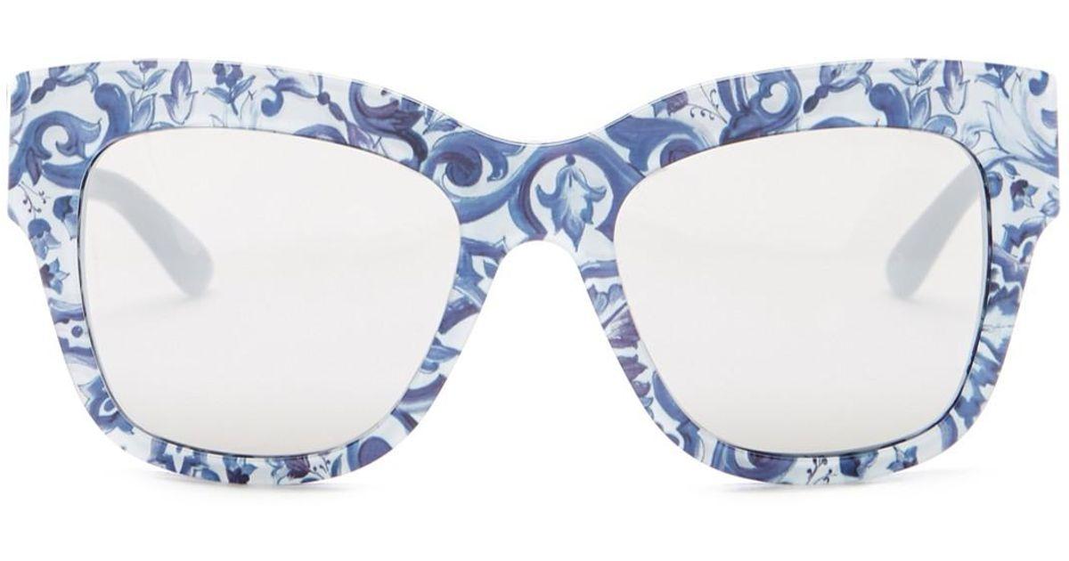 b0669c041004 Lyst - Dolce   Gabbana Women s Almond Flowers Cat Eye Acetate Frame  Sunglasses in Blue