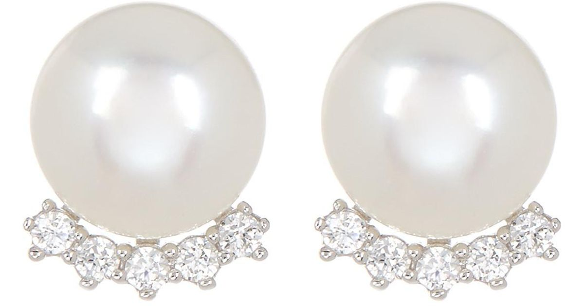 a3539cd22 Lyst - Splendid Fancy Cz 7.5-8mm Natural White Cultured Freshwater Pearl  Stud Earrings in White