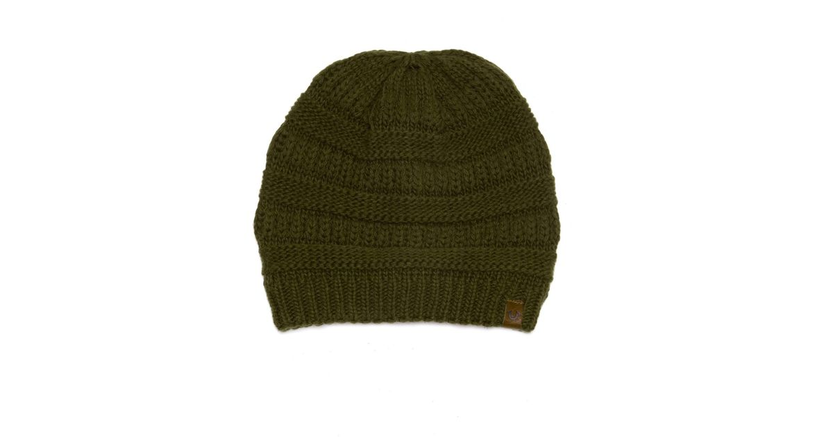 686d8e90a True Religion - Green Chunky Ribbed Knit Beanie for Men - Lyst