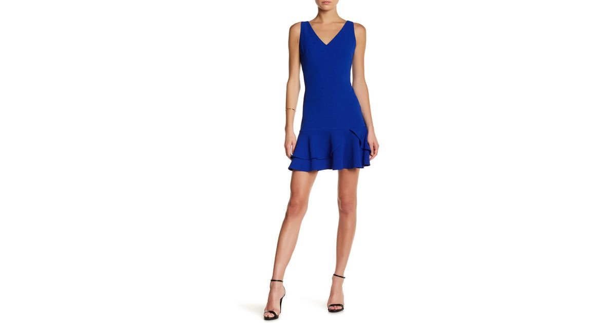 4eee775eda5 Eliza J Fit   Flare Tiered Ruffle Hem Dress in Blue - Lyst