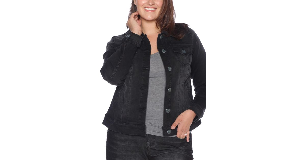 6cbed82732794 Lyst - Slink Jeans Denim Trucker Jacket (plus Size) in Black