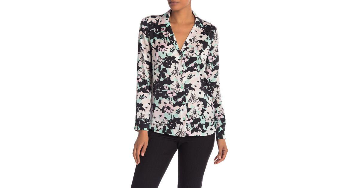 f36cf65eb9f176 Lyst - Equipment Adalyn Floral Button Shirt in Black