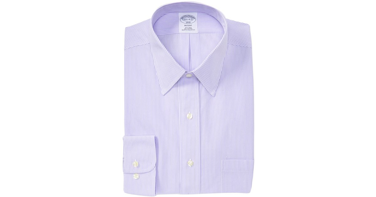 4b4e674b326c Lyst - Brooks Brothers Slim Stripe Regent Fit Dress Shirt in Purple for Men