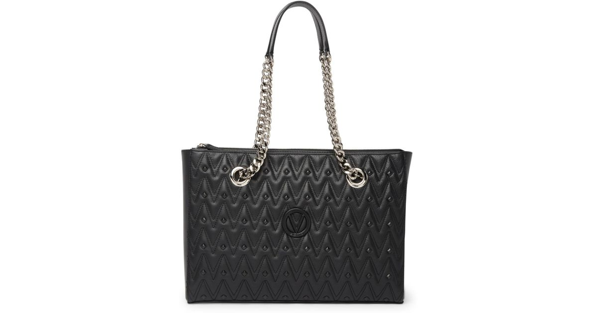 18d06fea173 Lyst - Valentino By Mario Valentino Floralie Diamond Leather Shoulder Bag  in Black