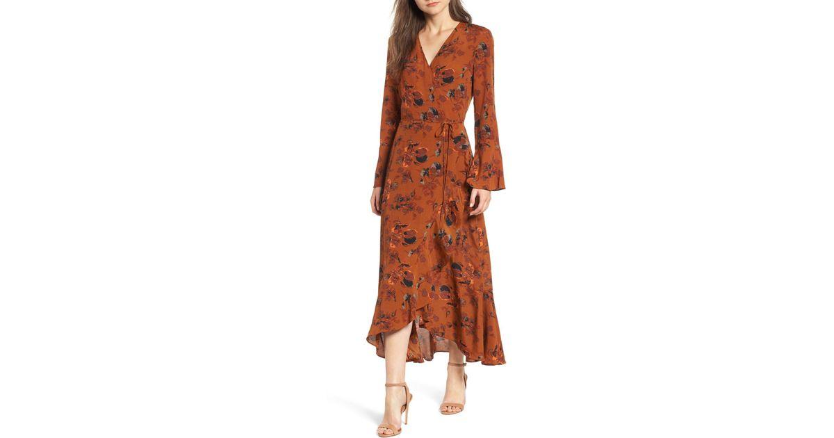12baf35b49 Lyst - Leith Bell Sleeve Wrap Midi Dress (regular   Plus Size) in Brown