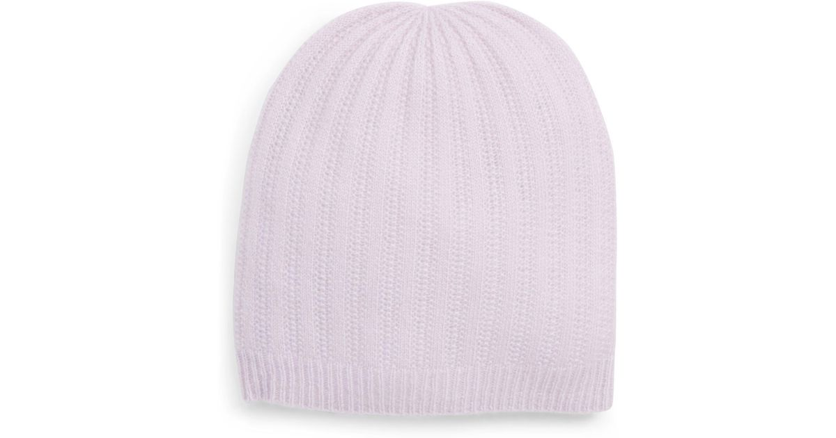 d47bf96d233 Lyst - Halogen (r) Ribbed Cashmere Beanie in Purple