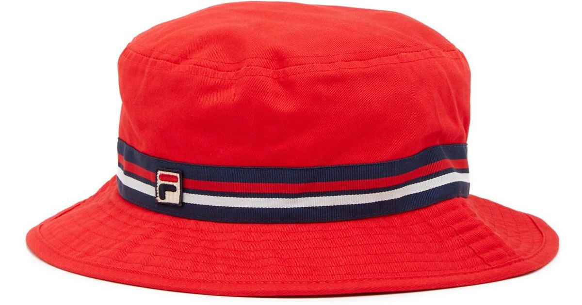 32609195ec6 Lyst - Fila Heritage Boonie Bucket Hat in Red for Men