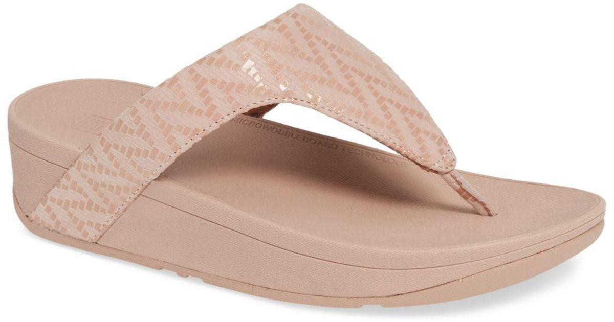 728bdc952 Lyst - Fitflop Lottie Chevron Wedge Flip Flop (women) in Pink