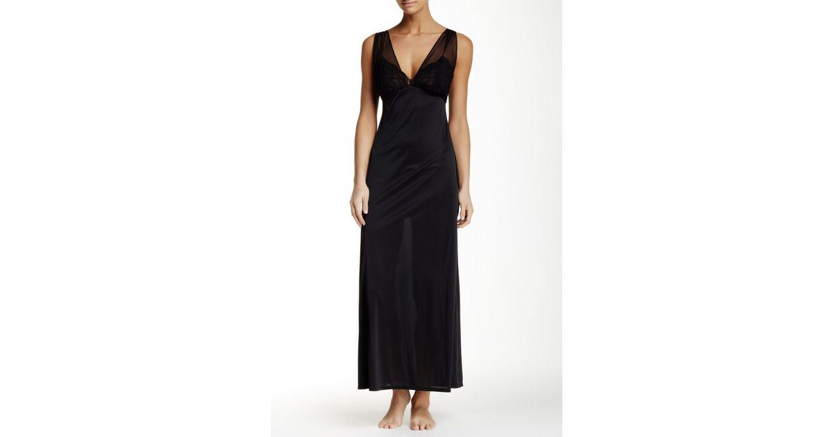 Lyst - Natori Boudoir Lace   Mesh Trim Long Nightgown in Black cb01cf344
