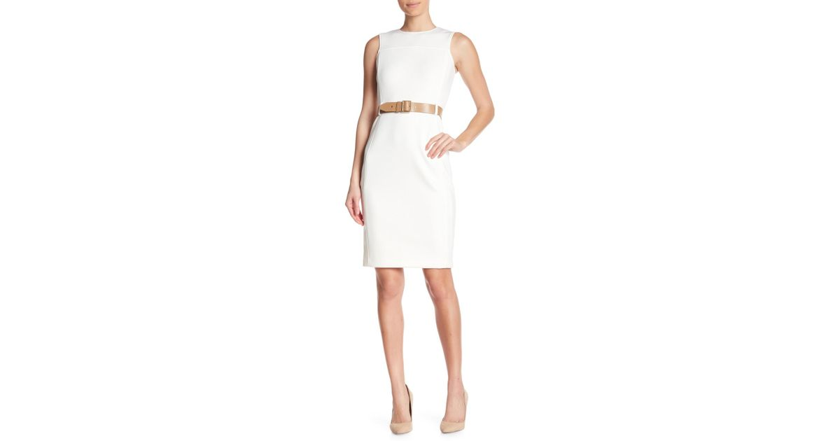 4201b8f6 Lyst - CALVIN KLEIN 205W39NYC Scuba Belted Sheath Dress in White