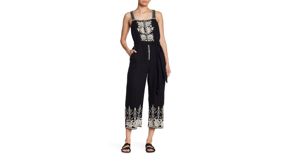 babf98a8c292 Lyst - Johnny Was Embroidered Linen Overalls in Black