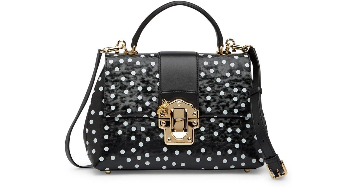 1ac6d2f3f25 Lyst - Dolce   Gabbana Medium Lucia Leather Polka Dot Shoulder Bag in Black