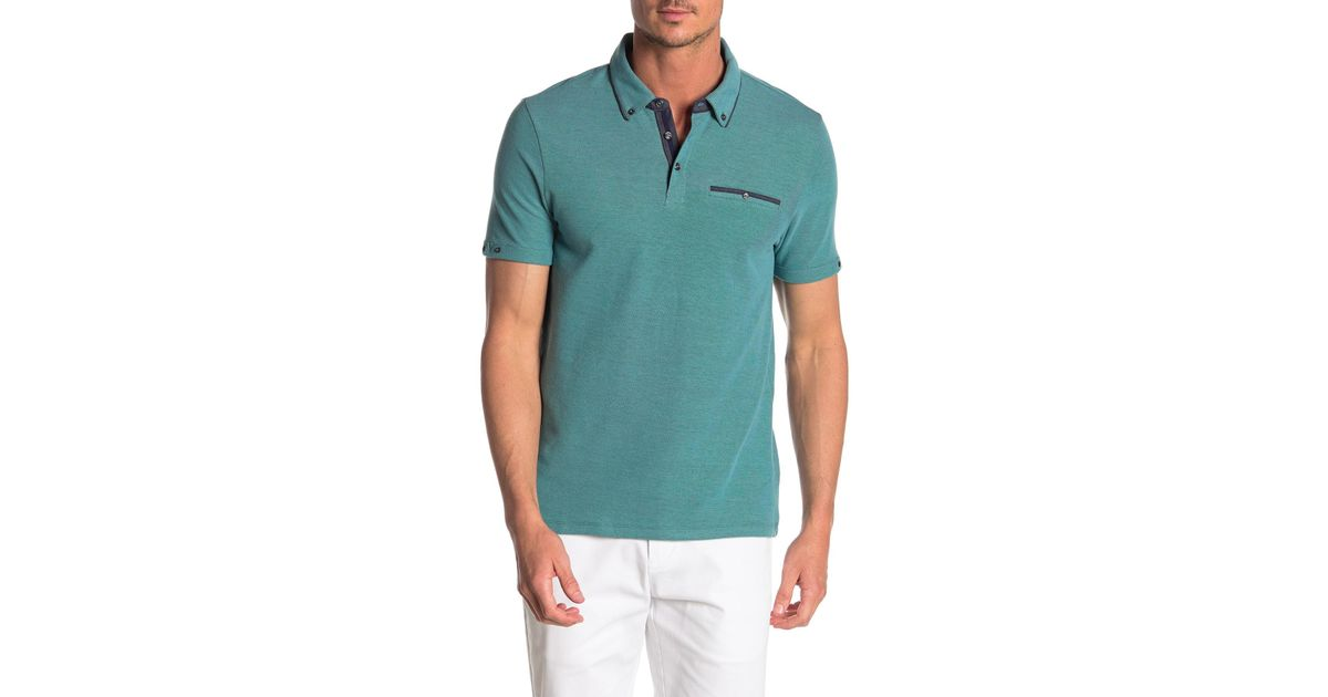 3571495f4 Lyst - English Laundry Honyecomb Pique Short Sleeve Polo Shirt in Blue for  Men