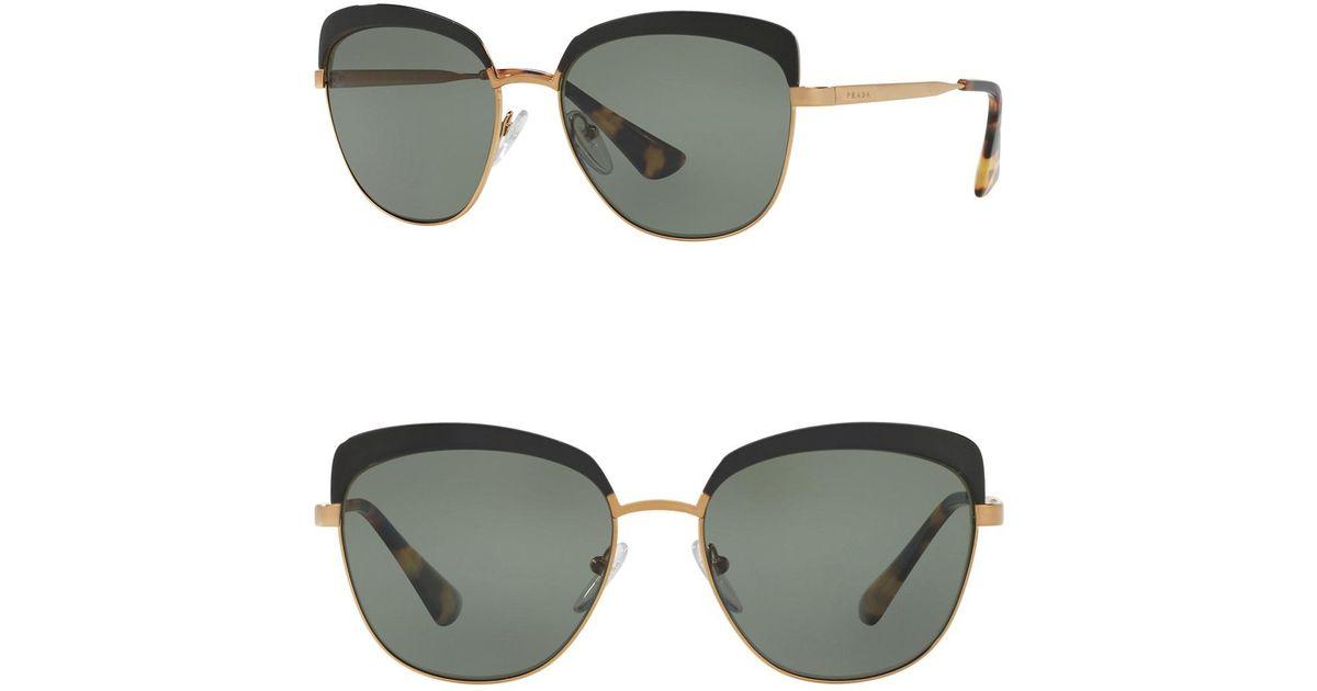 a9a6a8a4e4b Lyst - Prada 56mm Square Aviator Sunglasses