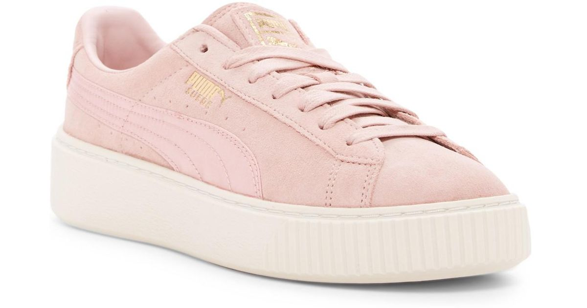 b0b91d1418bb Lyst - PUMA Suede Platform Mono Satin Sneaker in Pink