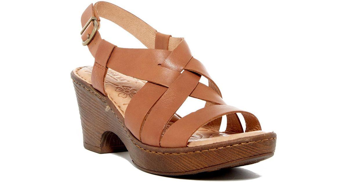 d73cf124226 Lyst - Born Carmo Leather Slingback Platform Sandal in Brown