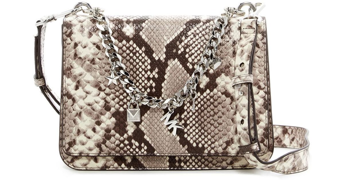 aa53f48ead65 ... netherlands lyst michael michael kors large charm swag python embossed  leather shoulder bag in natural b66f7
