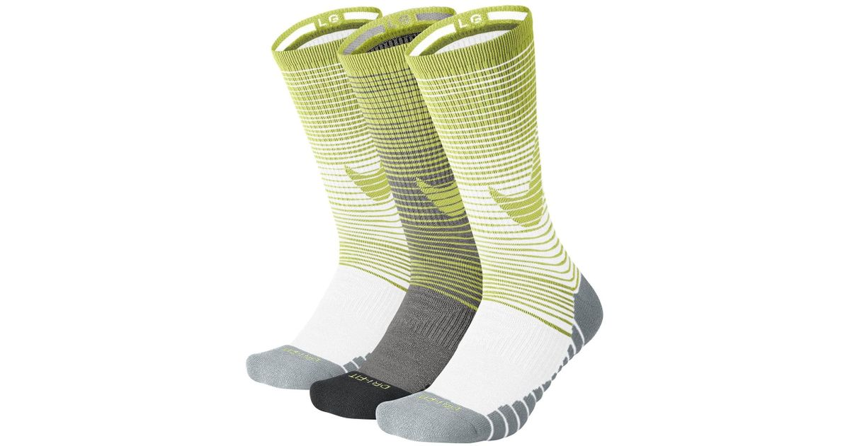 Nike - Green Dri-fit Performance Cushioned Crew Socks - Pack Of 3 for Men -  Lyst