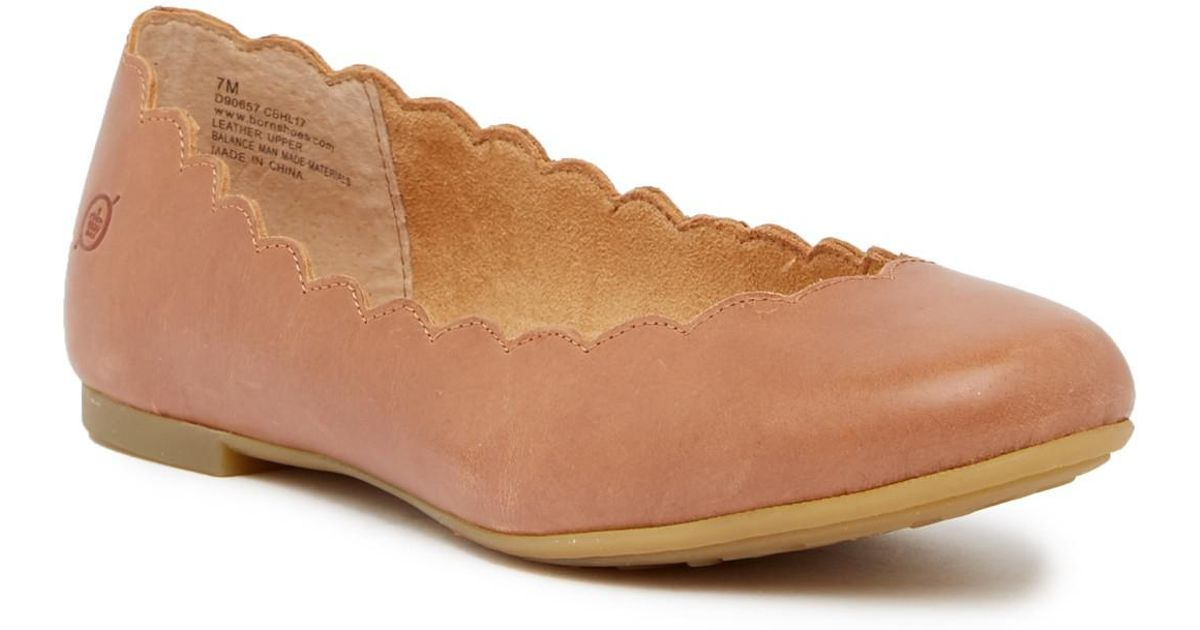 Born Allie Scalloped Leather Flat