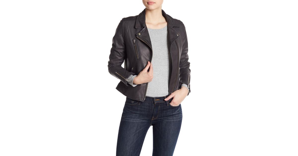 0f5470b5a4 Doma Leather - Gray Notch Collar Lamb Nappa Leather Jacket - Lyst